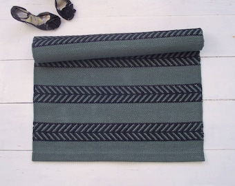 Green and Black Rug, Scandinavian Design Rug, Cotton Rug, Handmade, Washable, Double-sided, Woven on the Loom, Ready to Ship