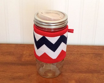 READY TO SHIP Mason jar cuff - Red, navy, and white wide mouth jar cozy sleeve