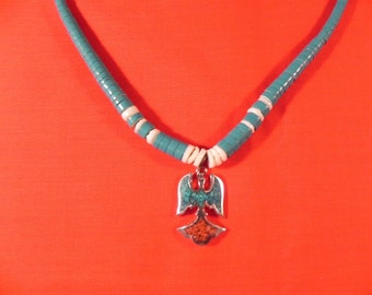 Vintage Necklace  Native American Waterbird Pendant  Chip In Lay and  Rolled Turquoise Beads