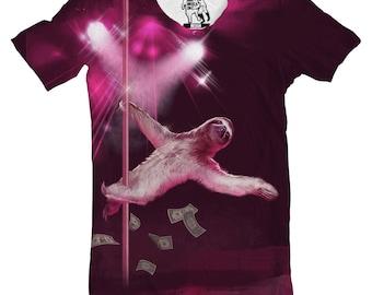 Men's Stripper Sloth Tee, Mens Funny Graphic T-Shirt, Animal, Strip Pole Magic Mic Sloths, Shirt, Shirts, Gift for guys, for him, boyfriend