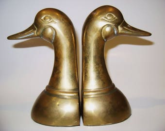 Solid Antique Brass Duck Head Bookends...FREEshipping !!!