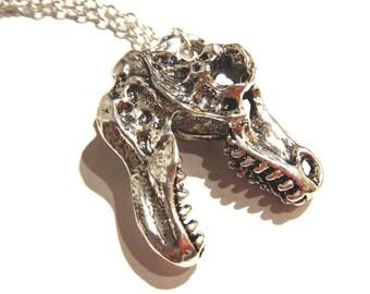 T-REX tyrannosaurus rex Dinosaur Skull Pendant on silver metal chain Necklace 8E