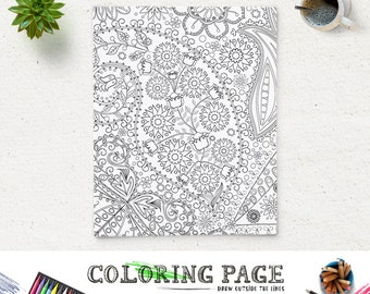 Printable Adult Coloring Page Paisley Floral Printable Coloring Book Adult AntiStress Art Therapy Instant Download Zen Digital Art Download