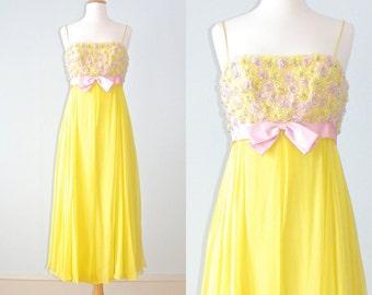 Vintage 1960s Prom Dress, 60s Dress, Beaded Yellow Chiffon Evening Dress, Bridesmaid Dress, Empire Waist Dress, Small