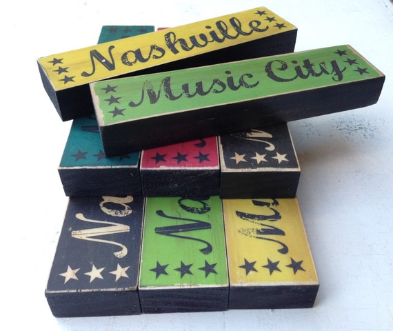 City Stacks Art Blocks- Nashville Art Block Wood- Country Music City Art Sign- Nashville Sign For Desk Shelf- Nashville Desk Decor- TN Art