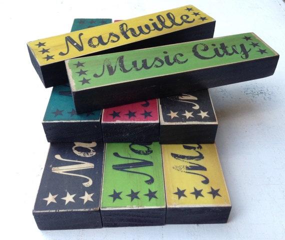 City Stacks Art Blocks- Nashville Art Block Wood- Country Music City Art Sign- Nashville Sign For Desk Shelf- Nashville Desk Decor- TN Art