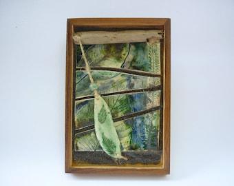 oeuvre murale , bois céramique,bois flotté végétaux,décoration nature ,art végétal,poterie mur,cadeau décoration,cadeau vegetal