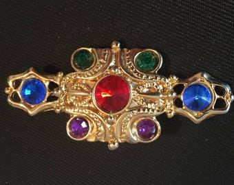 Glass Brooch, Red, Blue, Green, Purple, Heraldry, Vintage Jewelry SALE