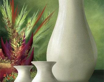 Three Vases - Still life green art print