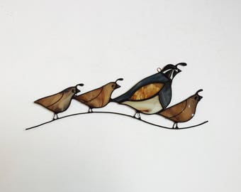 NEW for 2018! Stained glass California quail bird family.