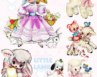 Mary's Little Lambs, Printable Collage Sheet (digital download, printable)