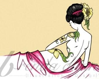 Pinup girl - 'Fuschia'  Illustration by Brenda Dunn
