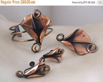 SALE Vintage MORELY CRIMI Copper Bracelet Brooch Earrings Mid Century Jewelry Set