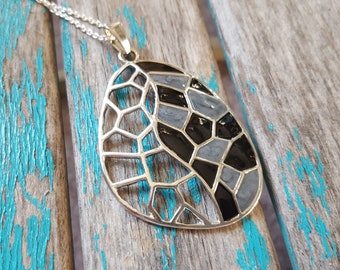 Silver Black, Grey Abstract Necklace- Modern Pendant on your choice of chain