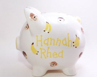 Monkey Piggy Bank - Personalized Piggy Bank - Ceramic Piggy Bank with Monkeys - Jungle Bank - Safari Theme - with hole or NO hole in bottom