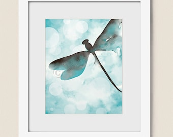 Brown and Blue Dragonfly Wall Print for Living Room Decor, 8 x 10 Print, Dragonfly Wall Art, Watercolor Dragonfly Print, Aqua Blue (425)