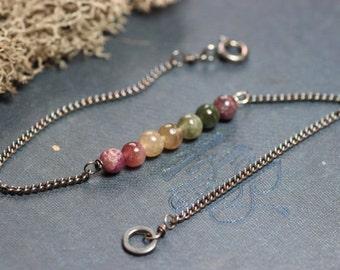 Tourmaline Chakra Bracelet Antiqued Silver Pink Green Gemstone Chain Bracelet