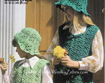 Vintage Shell Crochet Crocheted CARDIGAN and HATS Patterns PDF B107 from WonkyZebraBaby