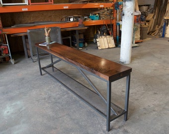 """Modern 2"""" Walnut and Steel Industrial Console / Credenza"""