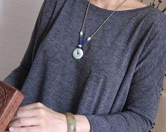 Jade circle necklace. Traditional Chinese knotting art. Blue and yellow knotted jade necklace. READY TO SHIP/style079
