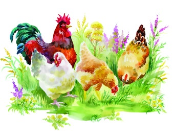 Rooster and hens  poultry chicken farm country counted cross stitch pattern PDF download
