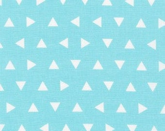 """By The HALF YARD - Remix by Ann Kelle for Robert Kaufman, Pattern #15239-70 Tossed Triangles in Aqua, Each White triangle is .375"""" x .375"""""""