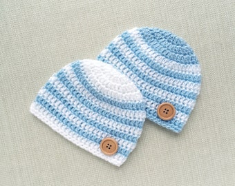 Twin baby boys matching hats, Newborn twin hats, Baby twin boy photo prop, Twin newborn hats New born Infant twin boy beanies Twin baby gift