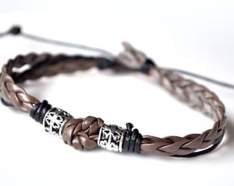 Brown cord men bracelet