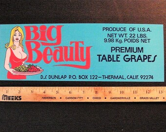 "Very rare 1960s fruit crate label ""Big Beauty"" AKA big Bboobies"