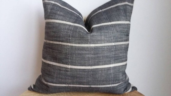 Designer Fabric Striped Modern Pillow Cover Charcoal