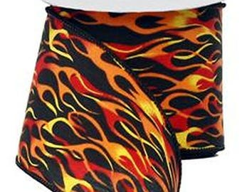 """Wired Ribbon ~ 2.5"""" Black Ribbon with Red, Orange & Yellow Exhaust Flames ~ Fire Ribbon ~ Craft / Home / Party Decor ~ 3 Yards"""