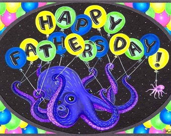 Octopus Balloon Father's Day Card