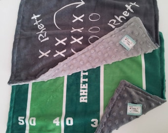 Personalized Blanket - Football Field OR Game Plan - organic cotton and minky baby blanket, 24x32 Newborn, 32x50 Toddler Kids Blanket