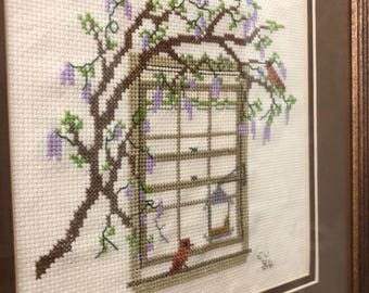 Framed Vintage Bird in the Window Embroidery