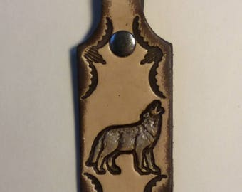 Genuine Leather Native American Howling Wolf Key Fob / Keychain