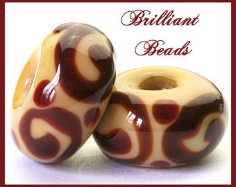 Chestnut Brown & Aged Ivory Scrollwork Glass Beads- Handmade Lampwork Pair SRA, Made To Order