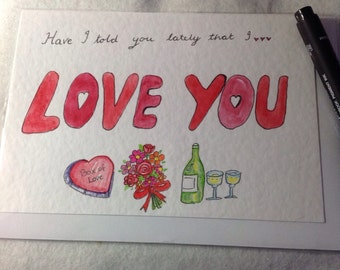 Watercolour Love you Valentine Card, Have I Told you lately Heart Valentine Card, Floral Valentine Card, Toasting Valentine Card