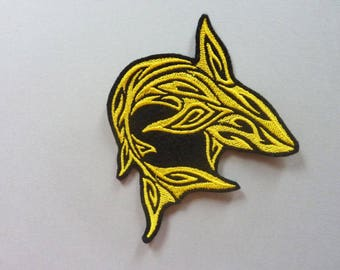 Applique badge patch Yellow Shark silhouette