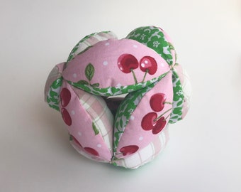Cherries Pink and Green Amish Fabric Puzzle Ball Baby Child Pet Toy
