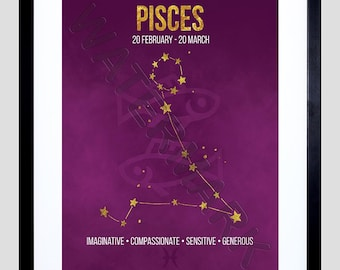 Zodiac Star Sign Birthday Astrology Pisces Framed Wall Art Print F12X11657