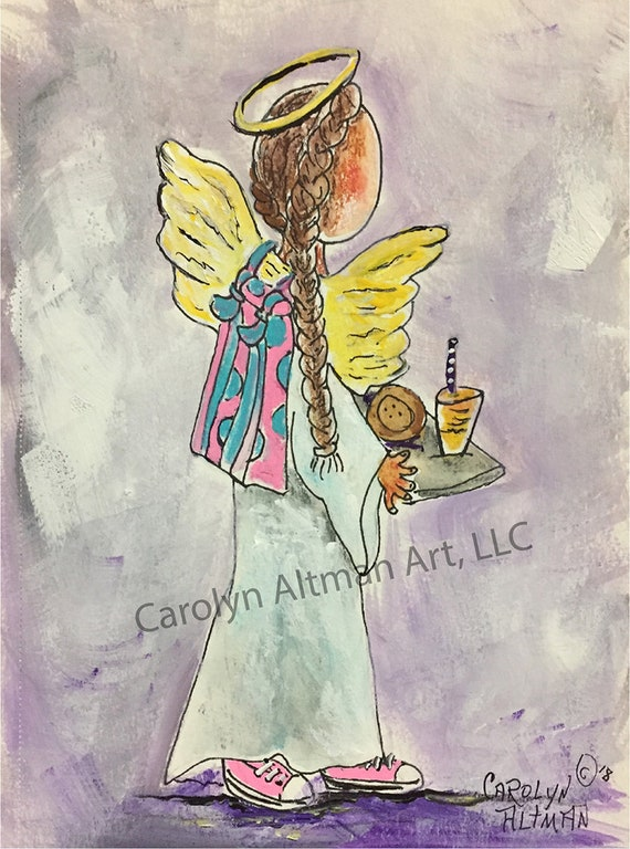 Angel of Kindness in the Lunch Line Prints and Note Cards| Being Kind in the Lunch Line Angel |  Angel Painting Carolyn Altman Art