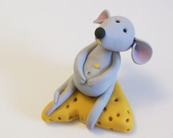 Mouse eating cheese figurine: I am so full polymer clay mouse