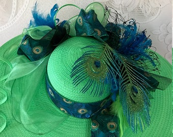 Green, Blue and Black Wide Brim, Floppy Derby Hat