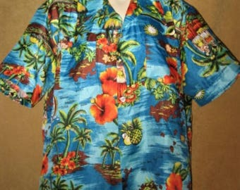 Mens Tropical Shirt Print 60s 70s Vintage