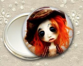 gothic doll pocket mirror,  original art  hand mirror, mirror for purse, bridesmaid gift, stocking stuffer MIR-AD31