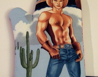 Sexy Devin the Cowboy Oven Mitt Valentine. Gift. Gag gift. Bachelorette. Bridemaid. Mother's Day. Gay. Christmas