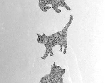 Original pointillism cat drawing