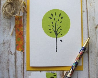 Green Tree, hand stamped note card, greeting card, handmade, blank inside, OOAK