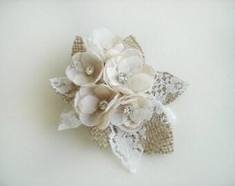 Bridal Headpiece, Rustic Hair Comb, Burlap Lace Wedding Hair Accessories, Hair Pieces, Wedding Hair Clip Bridal Fascinator, Ivory Champagne