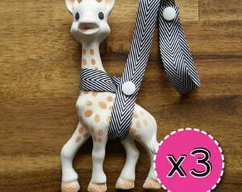 3x Toy Savers - Sophie Saver/Toy Saver/Toy Leash- Your choice of ribbons and snaps